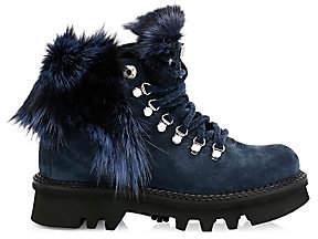 Montelliana 1965 Women's Aurora Fox Fur-Trim, Shearling-Lined Suede Hiking Boots