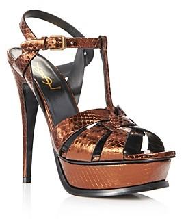 Saint Laurent Women's Tribute Metallic Snakeskin High-Heel Sandals
