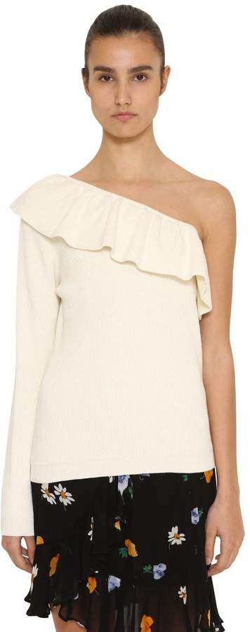 Ganni Ruffled One Sleeve Ribbed Cotton Sweater