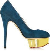 Charlotte Olympia Dolly Teal Suede Platform Pump