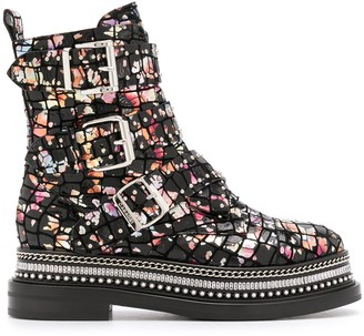 Casadei Floral Crocodile Embossed Boots