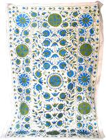One Kings Lane Vintage Uzbek Suzani w/ Flowers on Vine