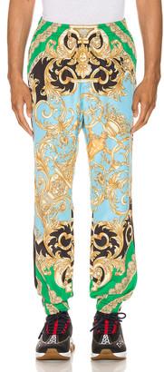 Versace Print Pants in Green & Blue | FWRD