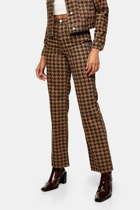 Topshop Womens Brown Houndstooth 90S Straight Jeans - Brown