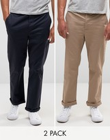 Asos 2 Pack Straight Chinos In Navy And Stone