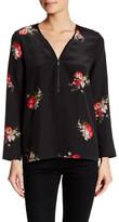 The Kooples Long Sleeve Floral Zip Silk Blouse