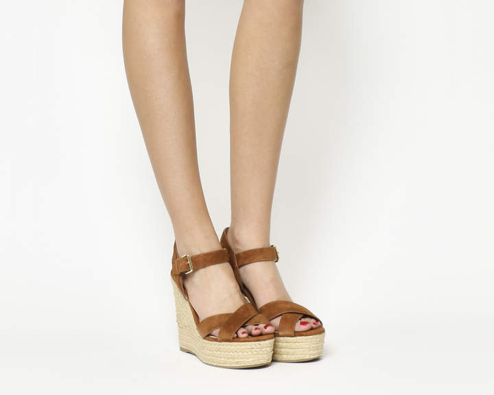 Office Ahoy Cross Strap Espadrille Wedges Tan Suede