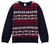 Petit Bateau Boys wool and cotton jacquard sweater