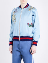 Gucci Appliquéd and embroidered silk-satin jacket