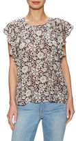 Rebecca Taylor Silk Printed Cap Sleeve Blouse