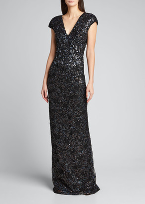 Pamella Roland Metallic Sequin Embroidered Gown