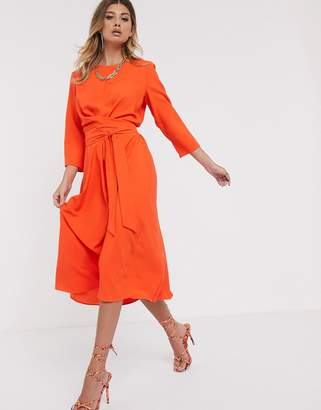 Asos Design DESIGN tie wrap around midi skater dress-Orange