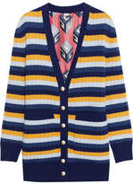 Gucci Reversible Striped Wool And Printed Silk Cardigan - Blue