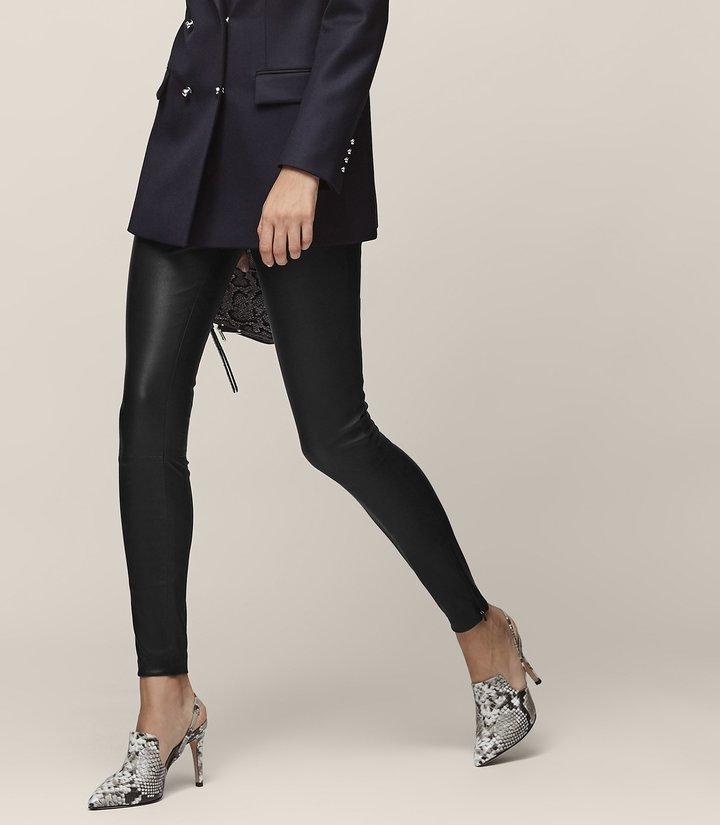 Reiss Carrie - Leather Leggings in Black, Womens