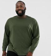 Polo Ralph Lauren Ralph Lauren Big & Tall player logo custom fit long sleeve t-shirt in estate olive-Green