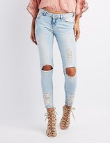 Charlotte Russe Destroyed Acid Wash Skinny Jeans