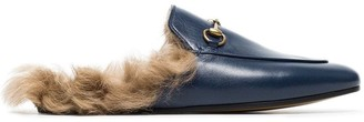 Gucci Blue Princetown Shearling Lined Leather Backless Loafers