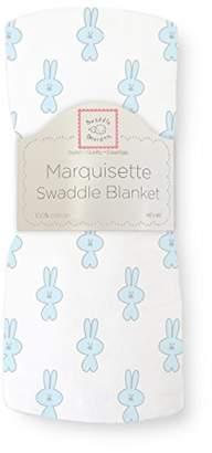 Swaddle Designs Marquisette Swaddling Blanket, Premium Cotton Muslin, Little Bunnie, Pastel Blue