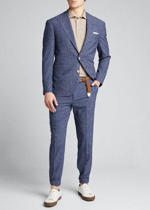 Brunello Cucinelli Men's Glen Plaid Peak Lapel Two-Piece Suit
