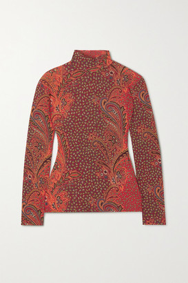 Etro Paisley-print Stretch Wool-blend Turtleneck Top - Red