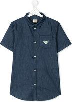 Armani Junior denim shortsleeved shirt - kids - Cotton - 14 yrs