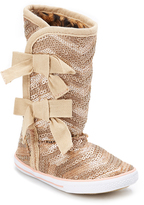 Volatile Gold Sequin Bow-Accent Boot