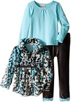 Little Lass Little Girls' 3 Piece Fur Jacket Set Animal Print