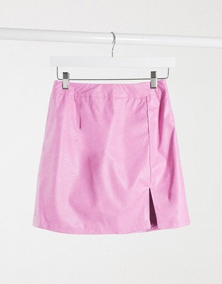UNIQUE21 faux leather mini skirt with split in hot pink