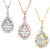 1 CT. T.W. Composite Diamond Teardrop Frame Pendant in 10K White, Rose or Yellow Gold