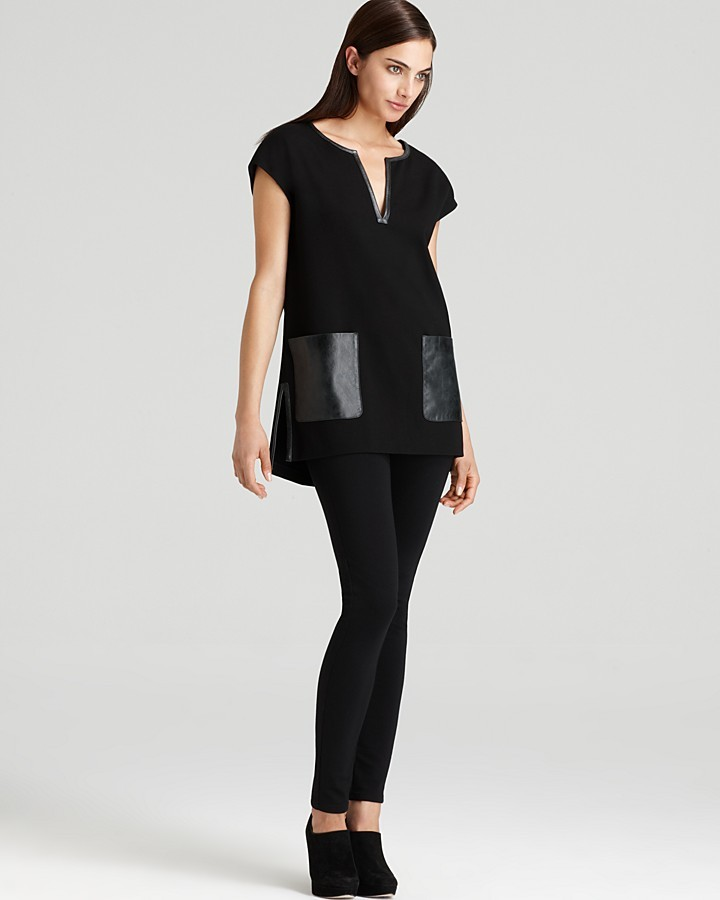 DKNY V Neck Tunic Dress with Faux Leather Pockets