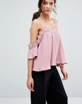 Boohoo Plisse Cold Shoulder Lace Trim Top