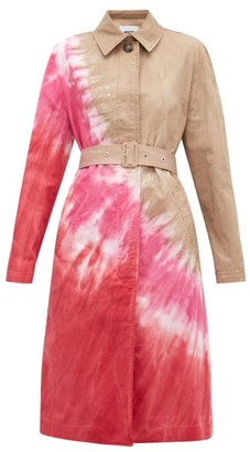 MSGM Tie-dye Single-breasted Cotton-blend Trench Coat - Womens - Beige Multi