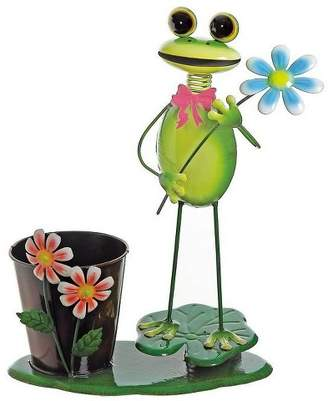 """Northlight 15"""" Frog with Flowers Lily Pad Spring Outdoor Garden Planter - Green"""