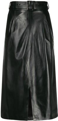 Marni Leather High-Waisted Midi Skirt