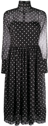 RED Valentino Polka Dot Long-Sleeve Midi Dress