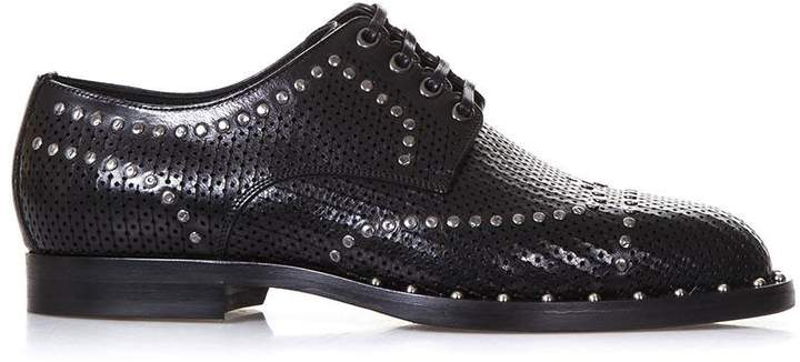 Dolce & Gabbana Perforated Black Leather Derby Shoes With Studs