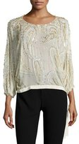 Jenny Packham 3/4-Sleeve Beaded Side-Tie Blouse, Glass