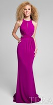 Terani Couture Halter Beaded Illusion Racer Back Evening Dress