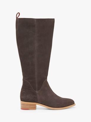 White Stuff Shelly Star Suede Knee Boots, Dark Grey