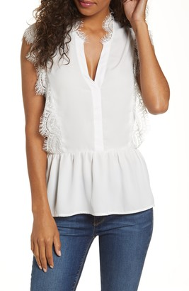 Gibson x Fall Refresh The Motherchic Lace Trim Peplum Top