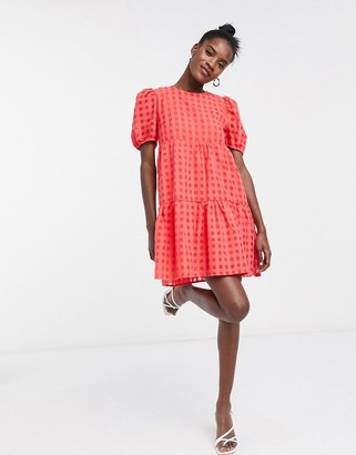 Glamorous tiered smock dress in checkered print