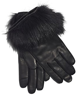 Echo Leather & Faux Fur Tech Gloves
