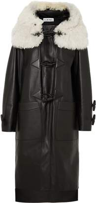 Loewe Shearling-trimmed Leather Coat