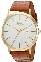 Adee Kaye Men's Quartz Stainless Steel and Leather Casual Watch, Color:Brown (Model: AK3331-MG/SV)