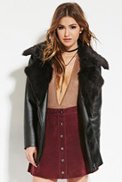 Forever 21 FOREVER 21+ Faux Fur Plush Leather Jacket