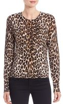 Equipment Shirley Long Sleeve Leopard Printed Knit Top