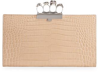 Alexander McQueen Shiny Croc-Embossed Flat Knuckle Clutch Bag