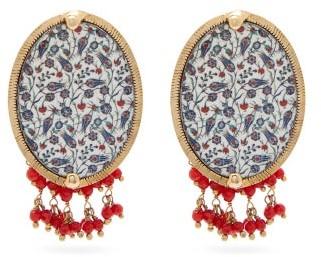 Rosantica Sicilia Tile Beaded Clip Earrings - Womens - Blue Multi