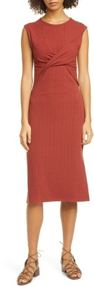 Joie Eos Ruched Front Midi Dress