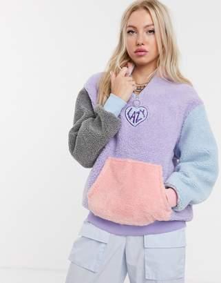 Lazy Oaf pull over logo fleece in contrast panels-Purple